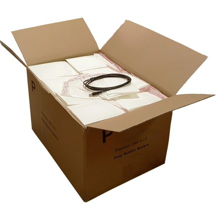 iMBAPrice 500 Self Seal 4x8 #000 White Poly Bubble Mailers Padded Envelopes + free USB Cable (Value Pack) Total 500