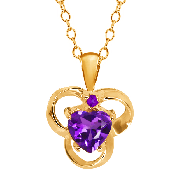 0.75 Ct Genuine Heart Shape Purple Amethyst Gemstone 14k Yellow Gold Pendant