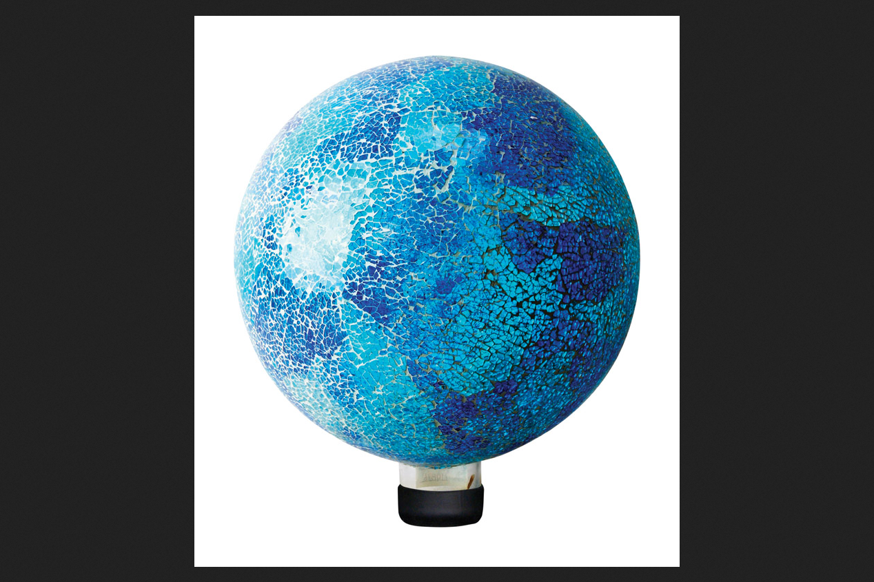 Alpine Glass Blue 11 in. H Crackled Mosaic Gazing Ball by Alpine