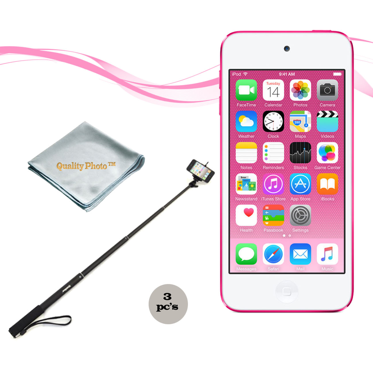 Apple Ipod Touch 16gb Pink (6th Generation) with a Istabilizer Istmp01 Monopod and Quality Photo Microfiber Cloth