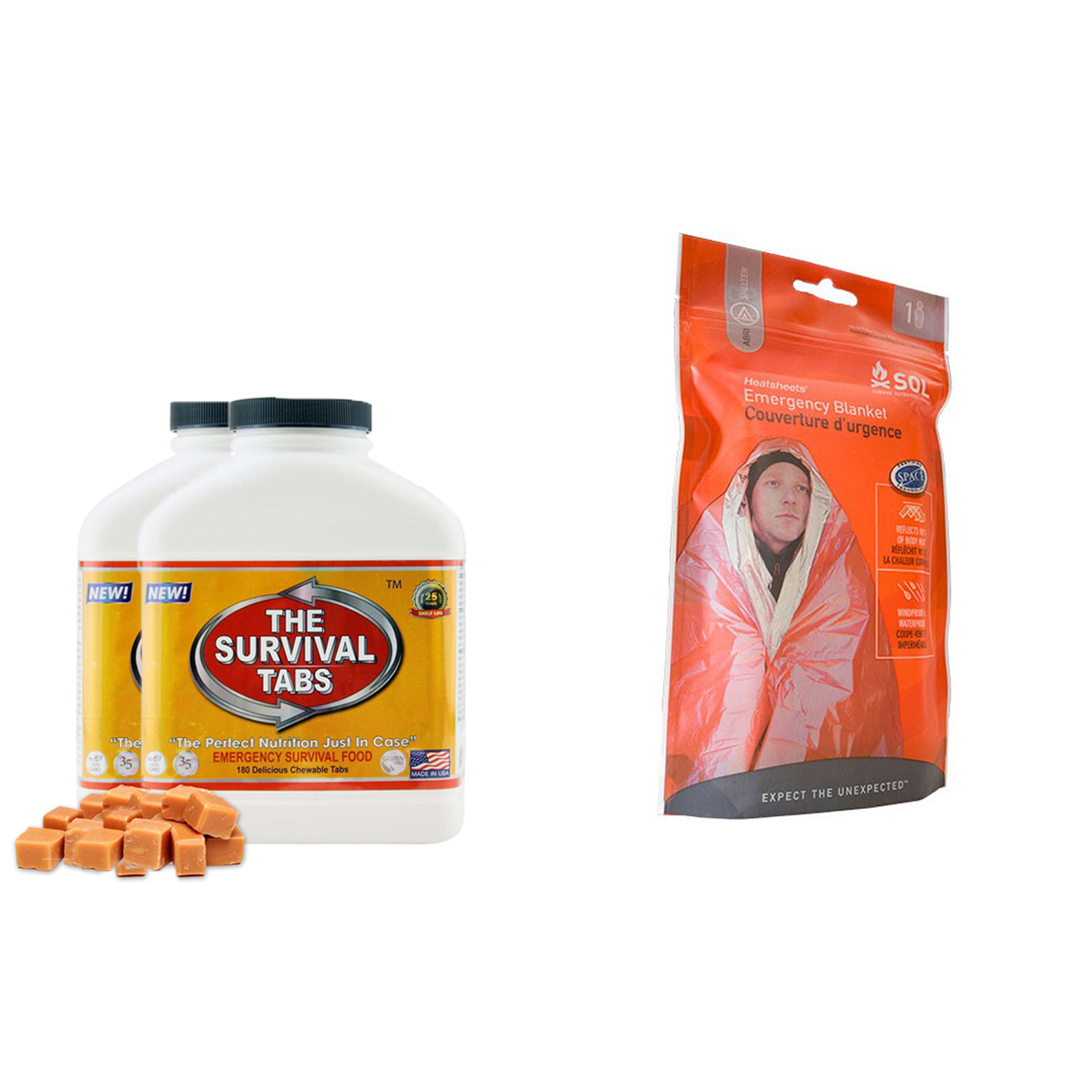 Emergency Blanket Survival for Outdoor Camping Sized to fit 1 person + Survival tabs 30 days Emergency food (360 Tabs Butterscotch) by