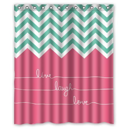 GreenDecor Hipster Quotes Live Love Laugh In Teal And Pink Chevron Zigzag Waterproof Shower Curtain Set with Hooks Bathroom Accessories Size 60x72 inches ()