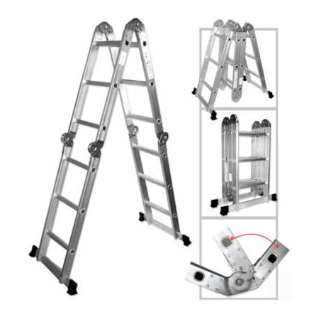 - Multi Position Purpose Stairway Aluminum Step Ladder Folding Fold Up Angle Stair