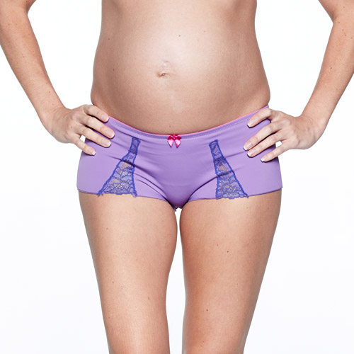 You! Lingerie Maternity Azalea Orchid Lace Trim Boy Shorts