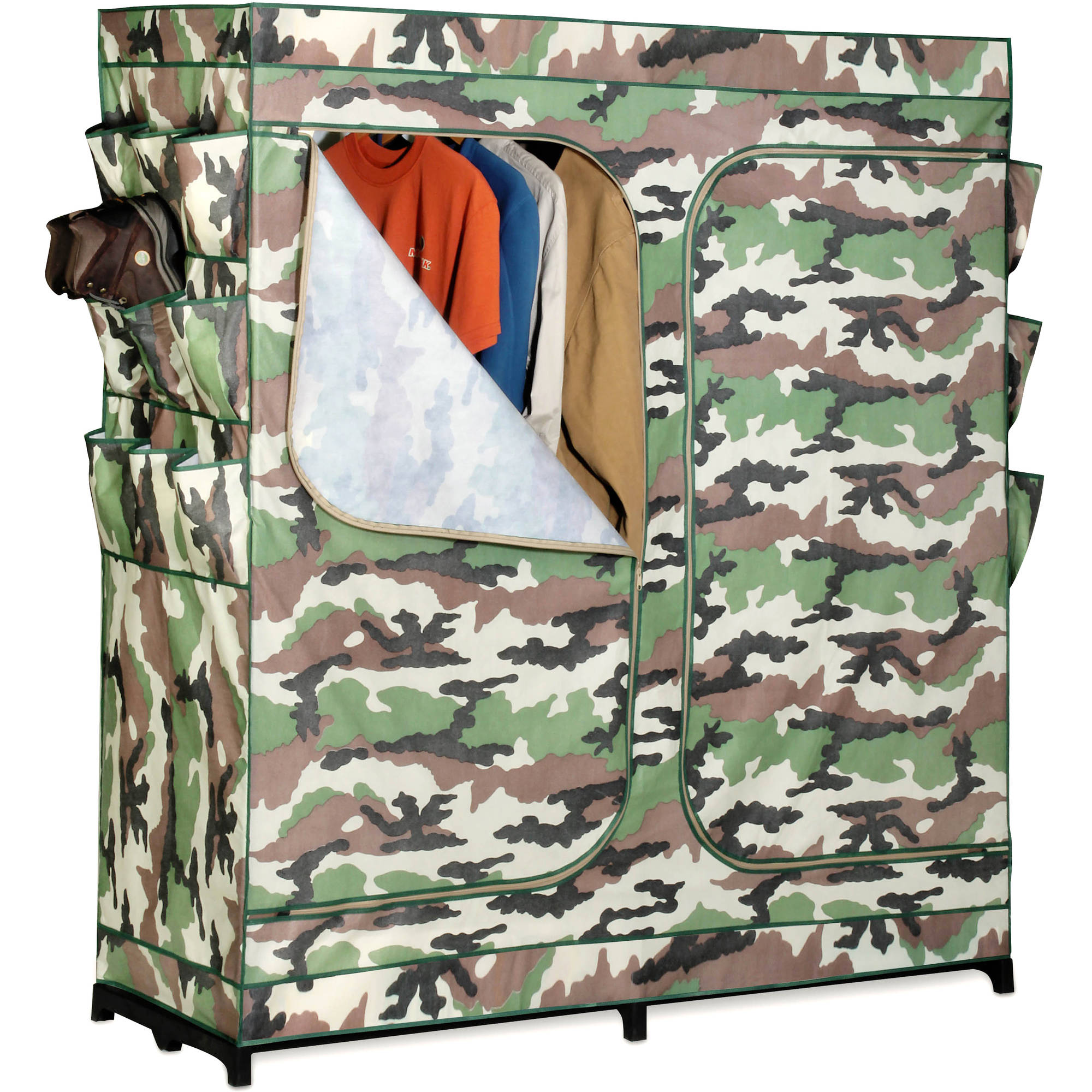 "Honey Can Do 60"" Double Door Storage Closet with Shoe Organizer, Camouflage"