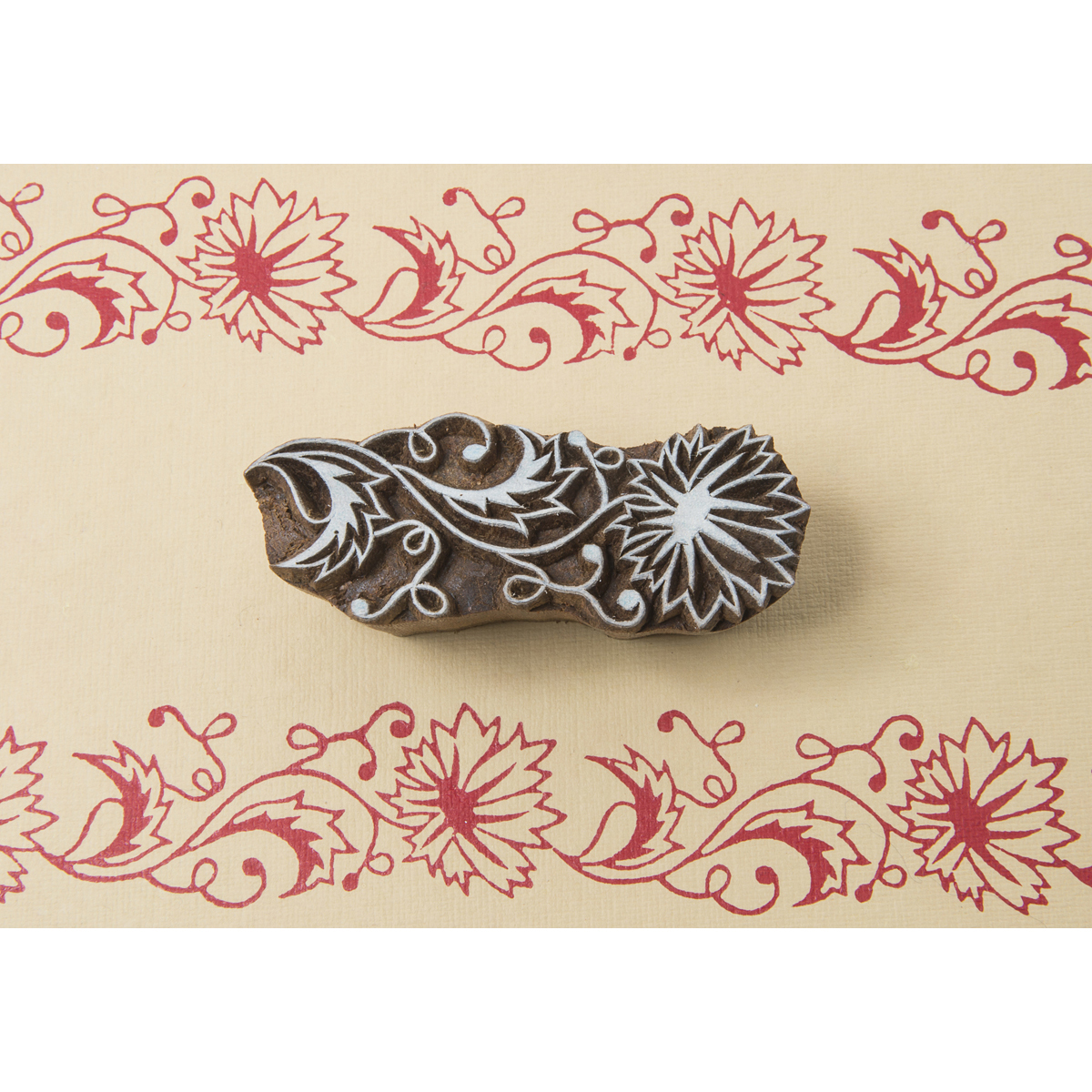 Blockwallah Block Stamp, Indian Flower Multi-Colored