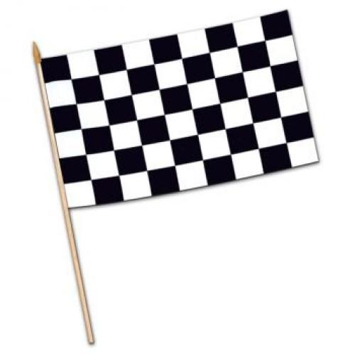 Checkered Flag - Rayon (w/10� spear-tipped wooden dowel) Party Accessory  (1 count)