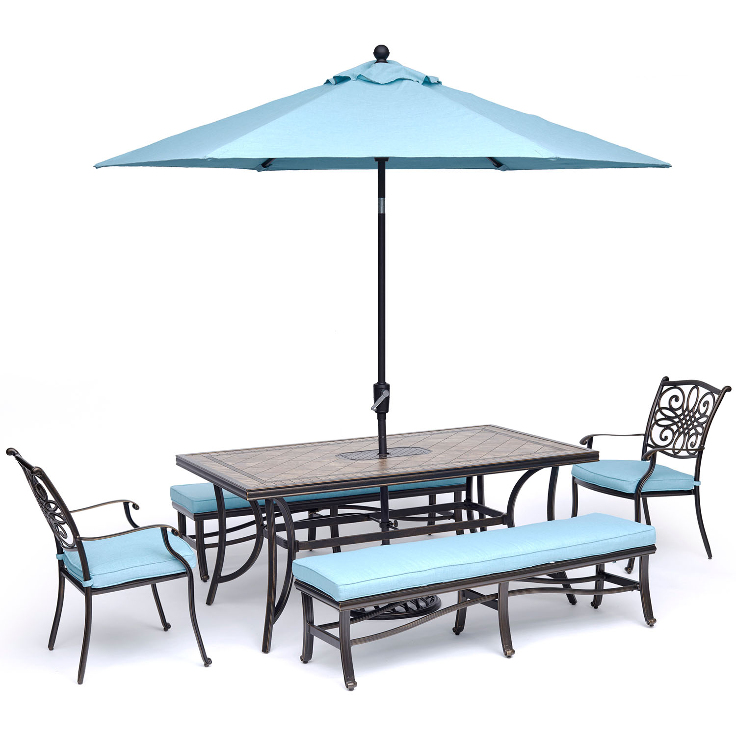 """Hanover Monaco 5-Piece Outdoor Dining Set with 2 Chairs, 2 Benches, 40"""" x 68"""" Tile-Top Table, 9-Ft. Table Umbrella and Stand"""