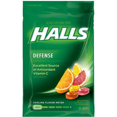 Halls Defense Vitamin C Supplement Drops, Assorted Citrus, 30 Ct ()