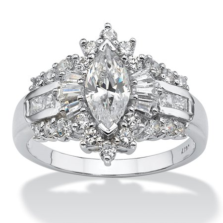 2.19 TCW Marquise-Cut Cubic Zirconia With Round and Baguette Accents Ring in 10k White - Cubic Zirconia 10k Gold Marquise