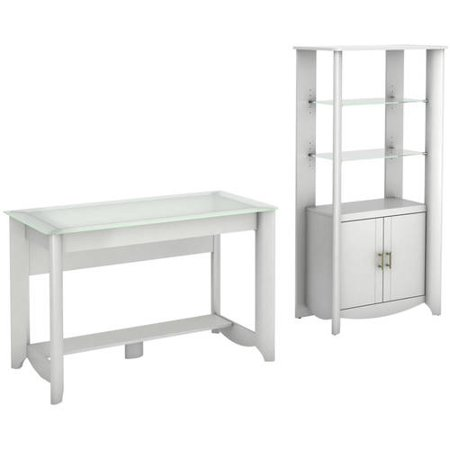 Bush Furniture Aero Collection Writing Desk & 2-Door Tall Library Storage in Pure White -