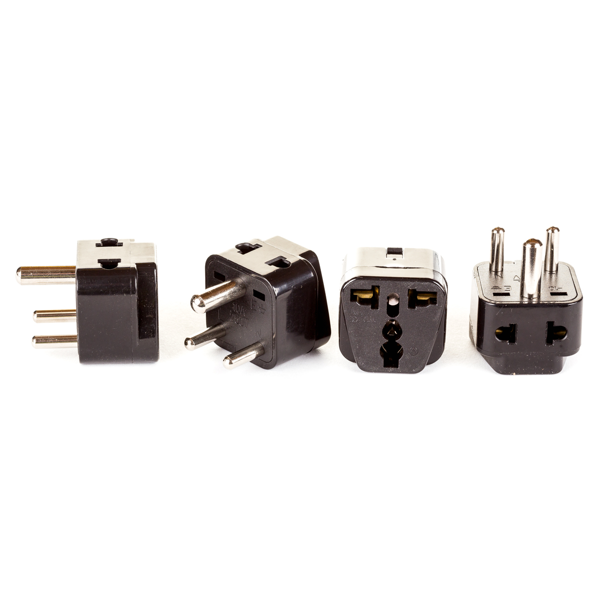 OREI 2 in 1 USA to India Adapter Plug (Type D) 4 Pack, Black by Orei
