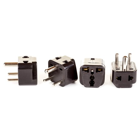 - OREI 2 in 1 USA to India Adapter Plug (Type D) - 4 Pack, Black