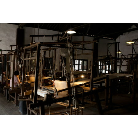 Canvas Print Old Technology Brocade Silk Weaving Wuzhen Wooden Stretched Canvas 10 x 14