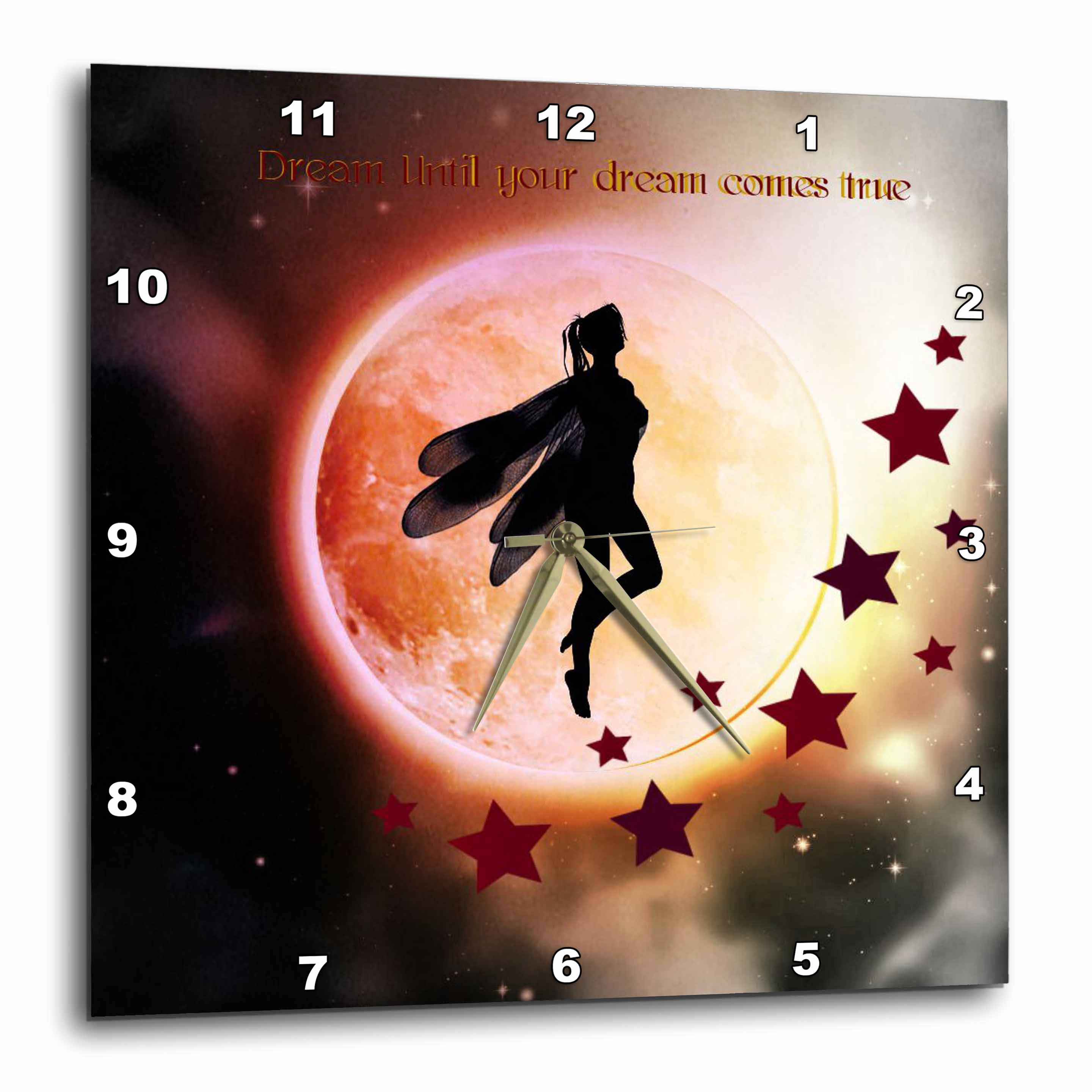 3dRose Dream Until Your Dream Comes True, Fairy Silhouette With Colored Moon, Wall Clock, 13 by 13-inch