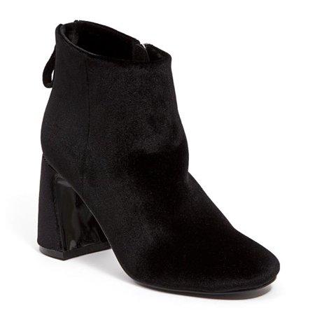 Ninety Union MARVELOUS-BLK-8 Velvet Ankle Bootie with Zipper & Wrapped Block Heel, Black - Size 8 - image 1 de 1