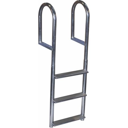 Aluminum 12 Volt Outdoor Step - Dock Edge Welded Aluminum Fixed Wide Step Ladder