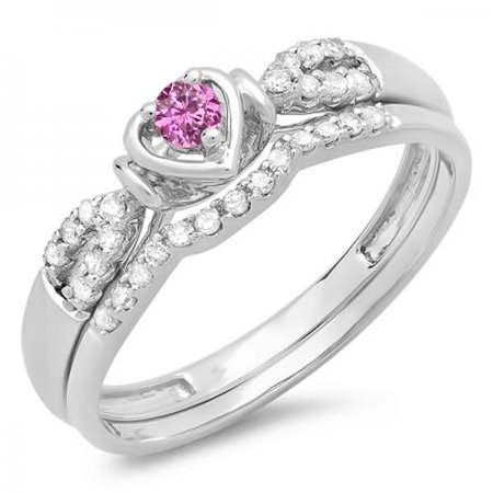 Dazzlingrock Collection 10K Pink Sapphire & White Diamond Heart Shaped Bridal Engagement Ring Set, White Gold, Size 5 - Heart Shaped Bridal Set