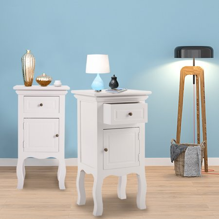 JAXPETY Set of 2 End Side Table Wooden Nightstand Bedroom Storage Cabinet Furniture Decor w/Drawer White ()