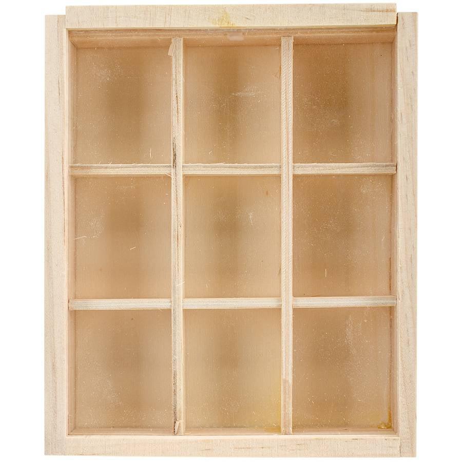 "Wood Craft Natural DIY 9-Window Keepsake Box, 4.75"" x 5.75"""