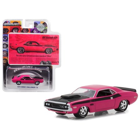 1970 Dodge Challenger Pink BFGoodrich Vintage Ad Cars Hobby Exclusive 1/64 Diecast Model Car by Greenlight