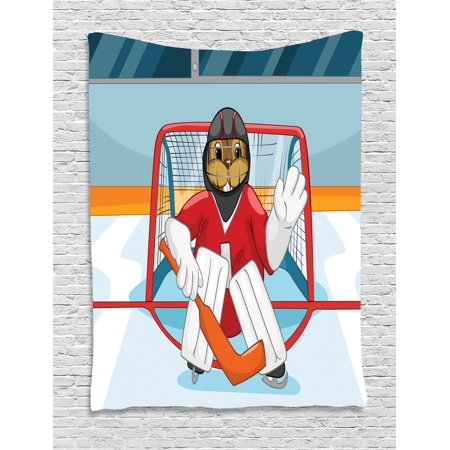 Hockey Tapestry, Cartoon Style Beaver Plays as a Goalkeeper Fun Activity for Kids Theme Animal Mascot, Wall Hanging for Bedroom Living Room Dorm Decor, 40W X 60L Inches, Multicolor, by - Beaver Mascots