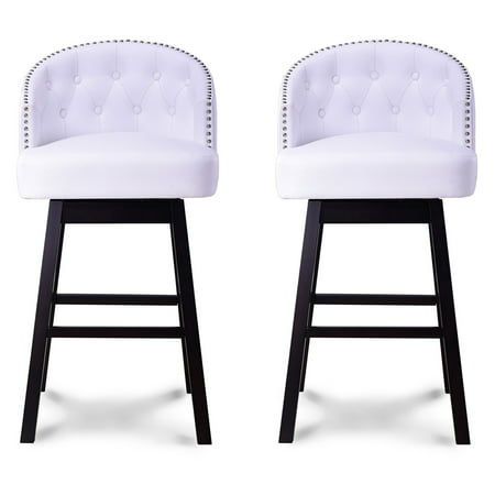 Leather Contemporary Bar Stools - Baxton Studio Avril Modern and Contemporary White Faux Leather Tufted Swivel Barstools with Nailhead Trim, Set of 2