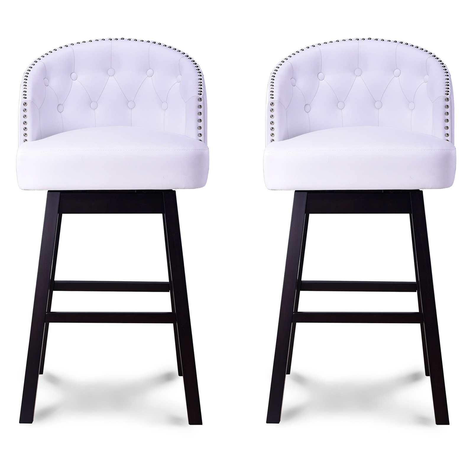 Delicieux Baxton Studio Avril Modern And Contemporary White Faux Leather Tufted  Swivel Barstools With Nailhead Trim, Set Of 2