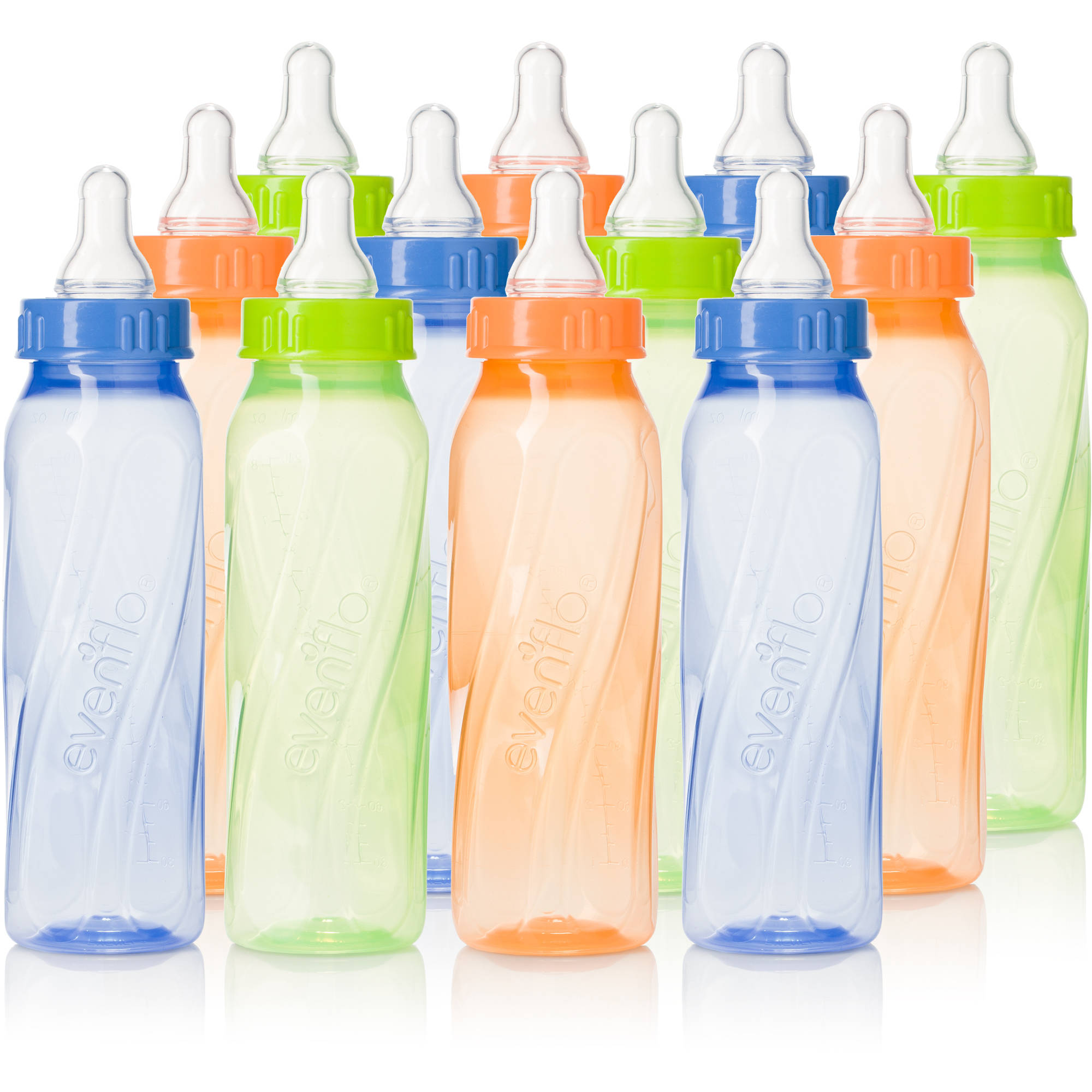 Evenflo Classic Twist 8oz Bottle, Tinted, Unisex, 12-Pack, BPA-Free