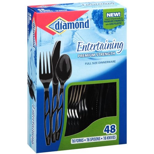 Diamond Entertaining Premium Strength Dinnerware Assortment, Black, 48 count