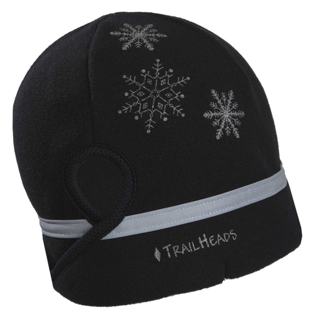 TrailHeads Women's Ponytail Hat - Reflective Cold Weather Running Beanie - black / snowflake