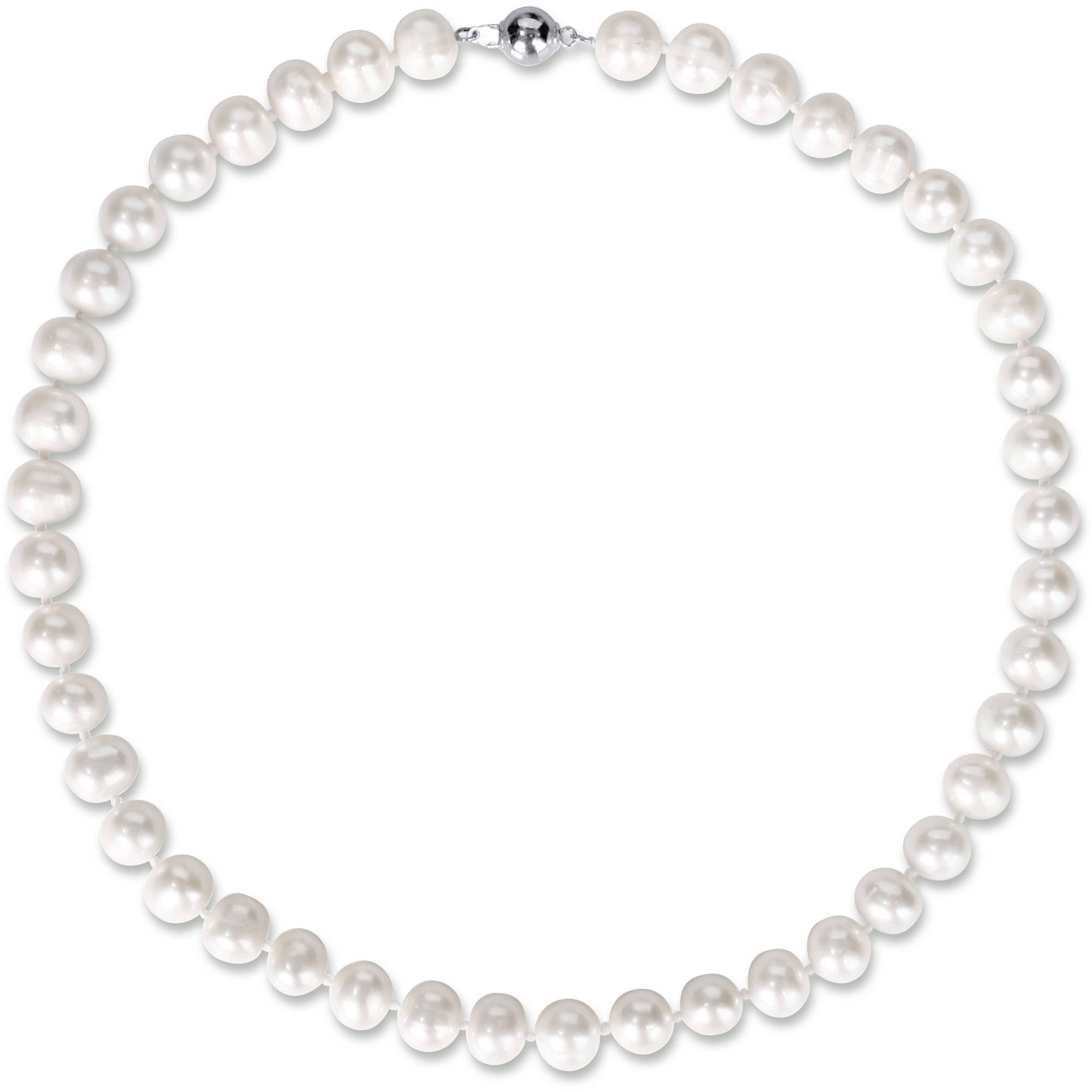 Miabella 9-10mm White Cultured Freshwater Pearl Brass Set of Necklace and Earrings, 18