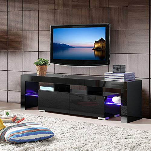 Mecor Modern Black Tv Stand With Led Lights High Gloss Tv Stand For 65 Inch Tv Led Tv Stand With Storage And 2 Drawers Living Room Furniture White Walmart Com Walmart Com