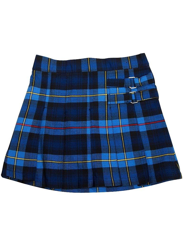 French Toast School Uniform Girls Regular & Plus Sizes Pleat Plaid Scooter Skirt, 35136 blue red plaid / 18