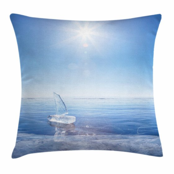Decorative Pillows For Yachts : Winter Throw Pillow Cushion Cover, Icy Boat in Sunny Weather with Open Sky Cool Blue Tones ...