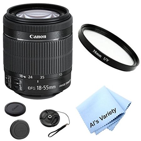 Canon EF-S 18-55mm f/3.5-5.6 IS STM lens Bundle Kit (White Box) With + High Definition UV Filter + Al's Variety Premium