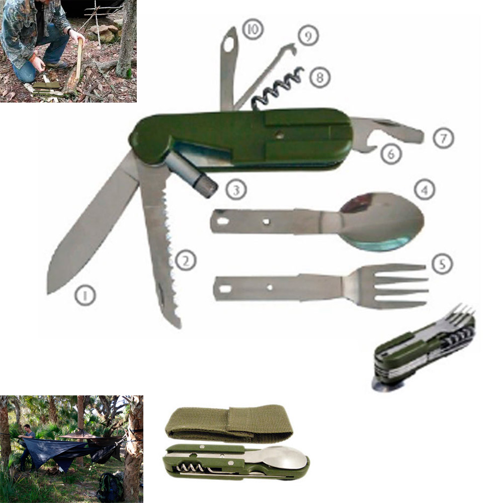 6 Function Camper Multi Tool Folding Hobe Knife Fork Spoon Survival Camp Sports by SONA ENTERPRISES