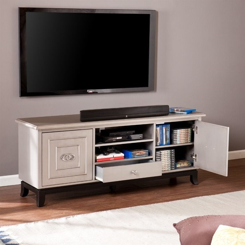"Southern Enterprises Orion 60"" TV Media Stand in Antique Gray"