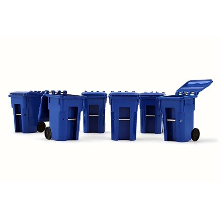 Trash Carts (Set of 6), Blue - First Gear 90-0518 - 1/34 Scale Diecast Model Toy