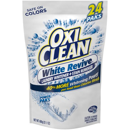 OxiClean White Revive Laundry Whitener + Stain Remover Power Paks, 24 Count (Iron Stain Remover)