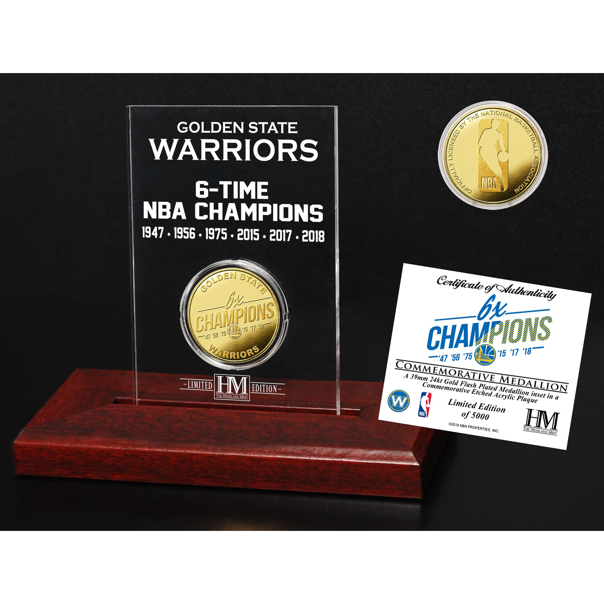 Golden State Warriors Highland Mint 2018 NBA Finals Champions Multi-Champs Gold Coin Etched Acrylic - No Size
