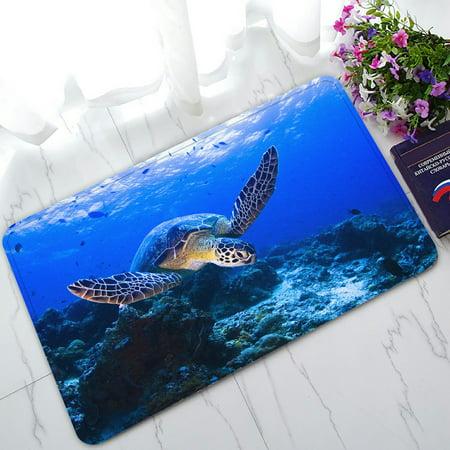 PHFZK Underwater Doormat, Sea Turtle and Coral Reef Doormat Outdoors/Indoor Doormat Home Floor Mats Rugs Size 30x18 inches