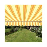 AW13X10MSTRY315-APE Retractable Multistripes Yellow Color Patio Awning - 13 x 10 Ft.