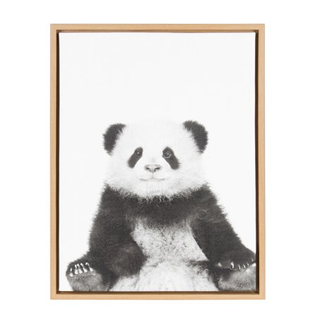 Kate and Laurel Sylvie Panda Black and White Portrait 18x24 Natural Framed Canvas Wall Art by Simon Te - Natural Canvas