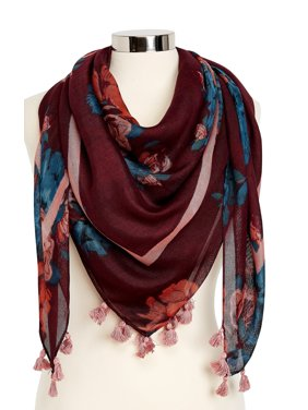 Floral Square Scarf With Tassels