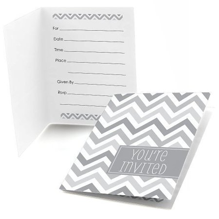 Chevron Gray - Fill-In Baby, Bridal or Birthday Party Invitations (8 count) - Toddler Halloween Birthday Party Invitations