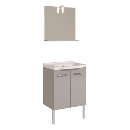 Parisot Dana 23 In  Single Bath Vanity With Ceramic Sink And Wall Mirror