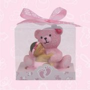 12 Ethnic Baby Shower Baby and Teddy Bear Favors in Pink