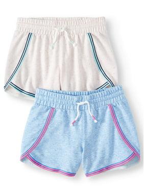 Athletic Works Embroidered Dolphin Hem Active Short, 2-Pack (Little Girls & Big Girls)