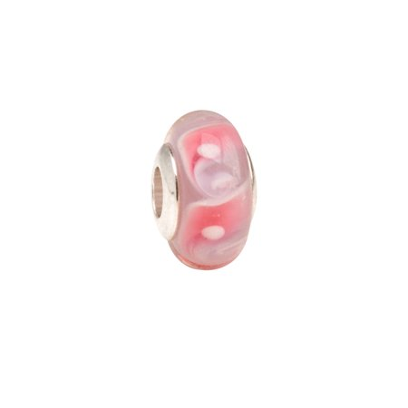 Pink And White Large Bubble Large Hole Beads Murano Lampwork European Glass Crystal Charms Beads Spacers Fit Pandora Troll Chamilia Carlo Biagi Zable Snake Chain Charm Bracelets 9x14.5mm 4pcs